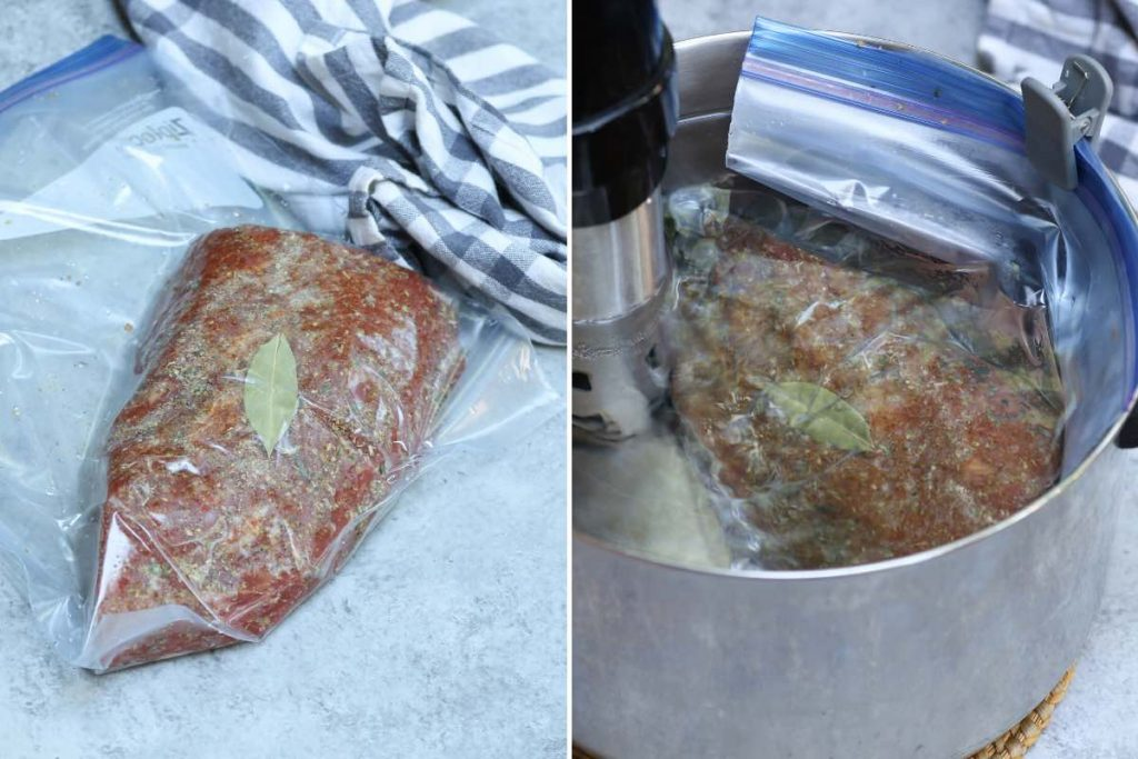 Photo on the left showing vacuum-sealed tri tip in a zip-top bag; photo on the right showing sous vide cooking tri tip in the water bath.