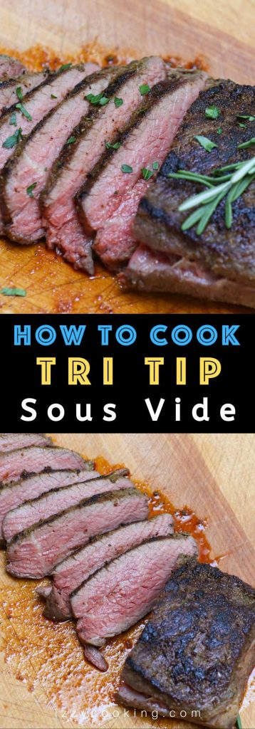 Sous Vide Tri Tip nails the edge-to-edge perfection on this triangle shaped bottom sirloin cut, resulting in amazingly juicy and tender steak. The tri-tip roast is cooked low and slow in sous vide water bath, and then seared quickly in the skillet for a peppery, garlic-y brown crust. #SousVideTriTip #TriTipSouVide #TriTipRecipe