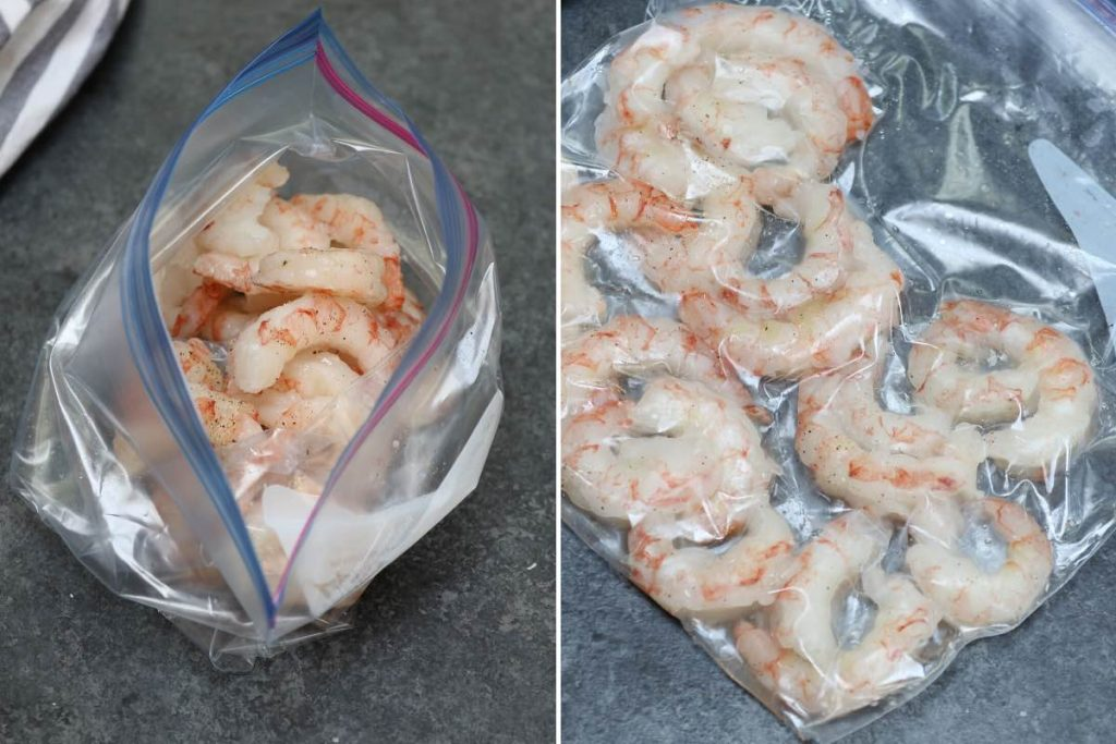 Photo on the left showing adding shrimp and seasoning in a zip-top bag; photo on the right showing the seasoned shrimp vacuum-sealed in the bag.