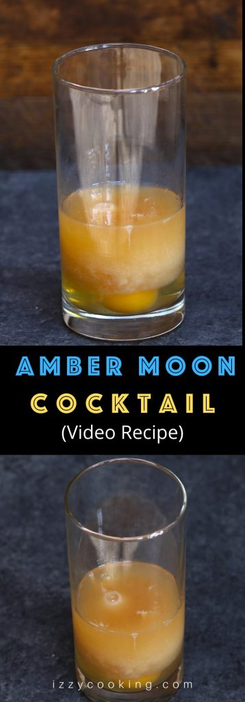 "The Amber Moon is an American drink that has been around for a long time. Made with whiskey (or vodka), raw egg, and Tabasco, this cocktail used to be considered a ""miner's breakfast"" in old days. Whether it's an effective treatment for a hangover is controversial. #AmberMoon #AmberMoonCocktail"