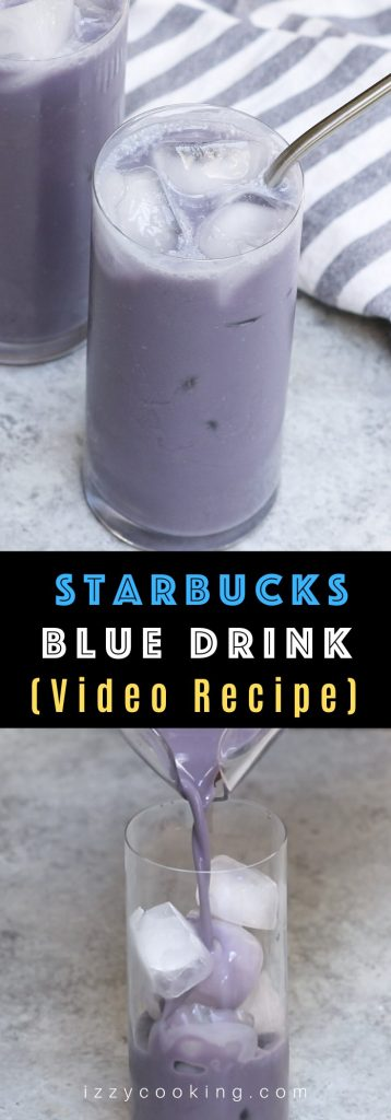 Blue Drink and Green Drink are the latest addition to the rainbow beverages on the Starbucks secret menu. The blue drink is made with passion iced tea, soy milk, and vanilla syrup. It's so refreshing, and you can easily make it at home at the fraction of the price. A perfect summer drink! #BlueDrink #BlueDrinkStarbucks