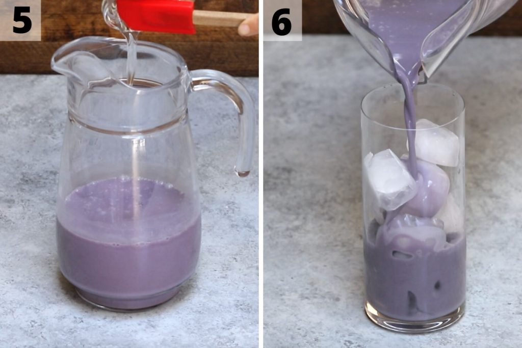 Blue drink recipe: step 5 and 6 photos.