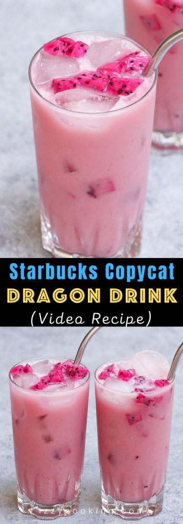 Make the stunning Insta-worthy Dragon Drink at home! It's very similar to Mango Dragonfruit Refresher but sweeter and creamier! This Starbucks copycat recipe is a real deal with the bright pink color and refreshing flavors! The best part? You can easily customize it to your preferred level of sweetness, and make it with or without caffeine! #DragonDrink #StarbucksDragonDrink