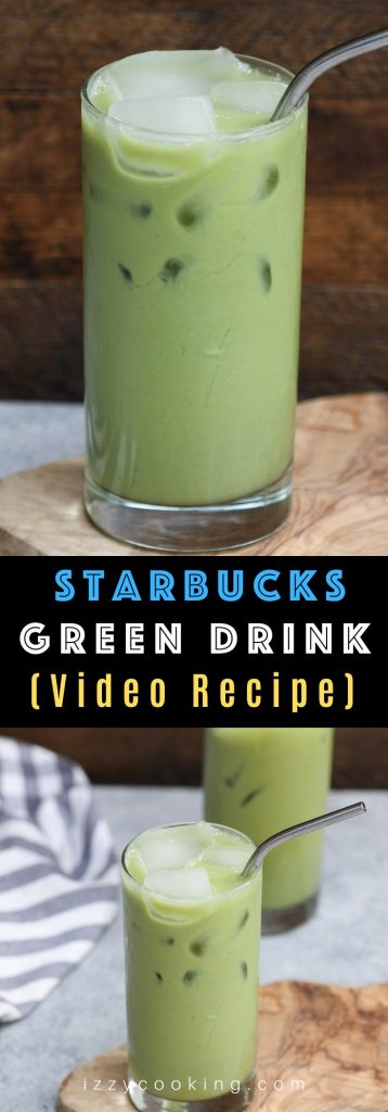 Green Drink and Blue Drink are my new favorite Starbucks rainbow beverages from the secret menu. Now you can make this refreshing green drink at home at the fraction of the price. It's made with black tea, matcha green tea powder, and coconut milk – smooth, creamy, and delicious! #GreenDrinkStarbucks #StarbucksGreenTeaDrink