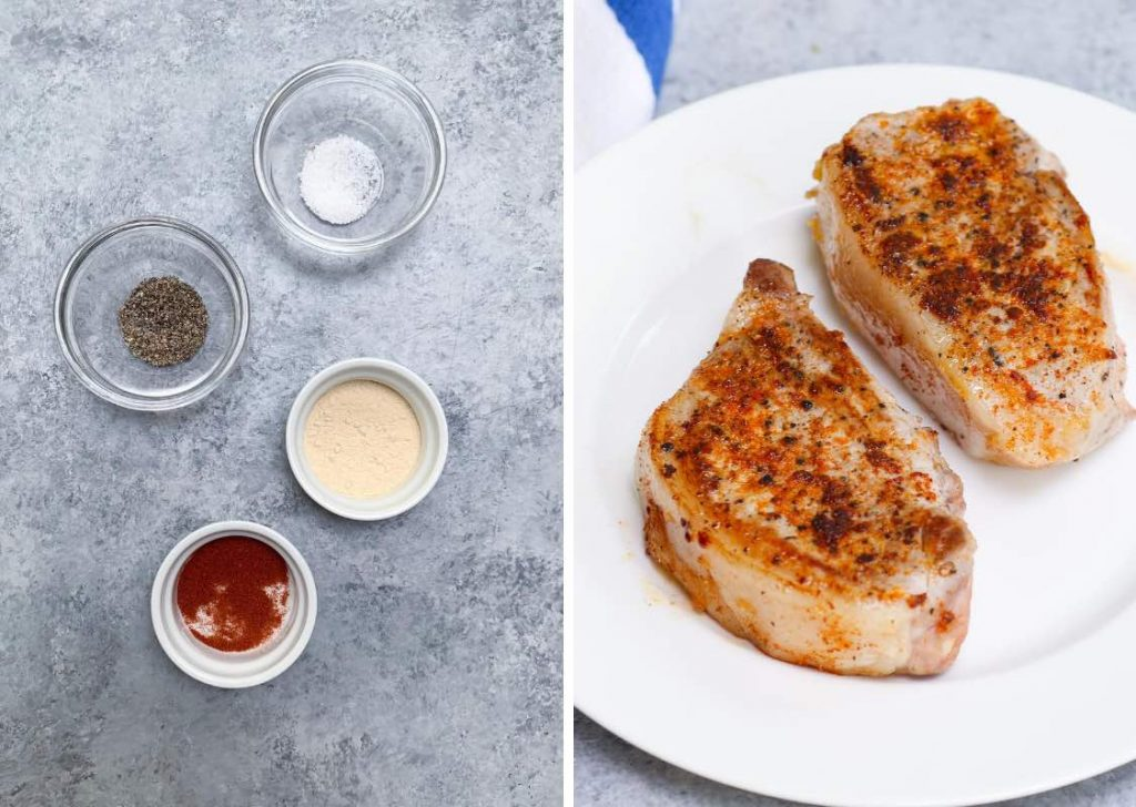 Keto Sous Vide Pork Chops: seasoning ingredients on the left, and cooked pork chops on the right.