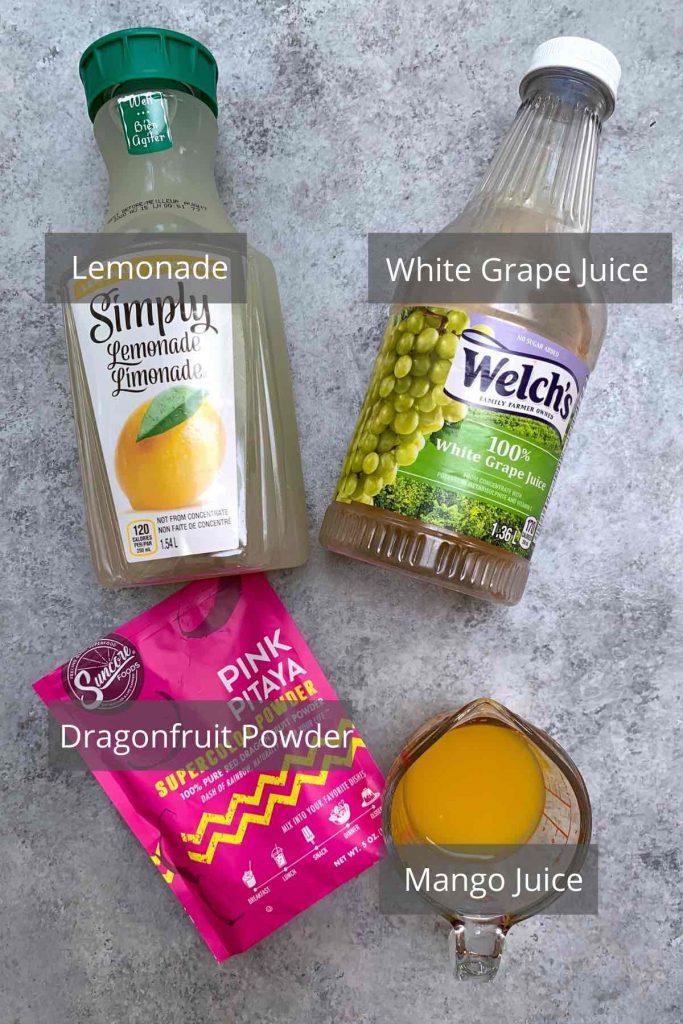Mango Dragonfruit Lemonade ingredients on the counter.