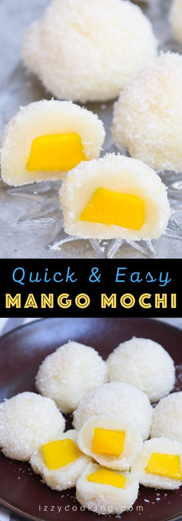 May I impress you with this refreshing homemade Japanese Mango Mochi? Tangy and sweet mango filling is covered with soft and chewy mochi cake. It's rolled into mango mochi balls with a delicious shredded coconut coating, perfect for a hot summer day! This recipe is quick to make, and can be easily customized for vegan or dairy-free preferences. #MangoMochi