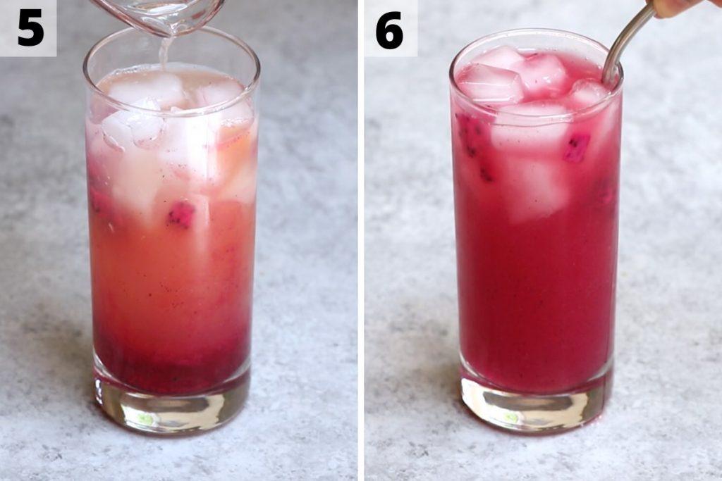 Mango dragonfruit lemonade recipe: step 5 and 6 photos.