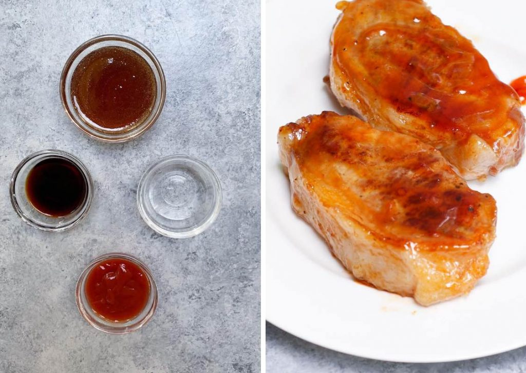 Maple Syrup Glazed Sous Vide Pork Chops: sauce ingredients on the left, and cooked pork chops on the right.