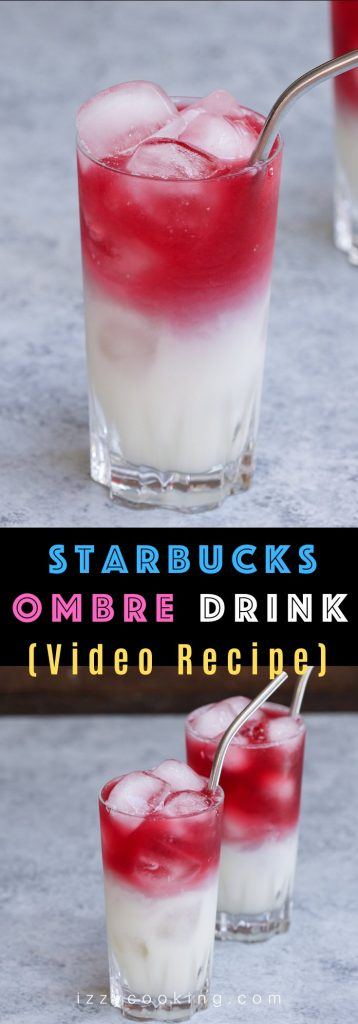 Make the Starbucks' stunning Ombré Pink Drink at home this summer! After the popular Pink Drink, the pink and white layered ombré drink is the new sensation that's all over Instagram and other social media. It's made with a Cool Lime Refresher with a coconut base topped with Teavana Shaken Iced Passionfruit Tea. As soon as you stick in a straw, the two layers start to swirl into a beautiful ombré. #OmbrePinkDrink #OmbreDrink