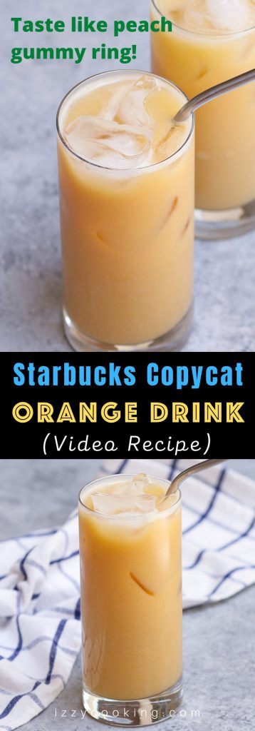 This new Orange Drink from Starbucks' secret menu tastes like Peach Gummy Rings! It's made with black tea lemonade, peach juice, and soy milk. We've created this homemade iced beverage to brighten up your day and it tastes like the real thing. A perfect and refreshing drink for the summer! #OrangeDrink #StarbucksOrangeDrink