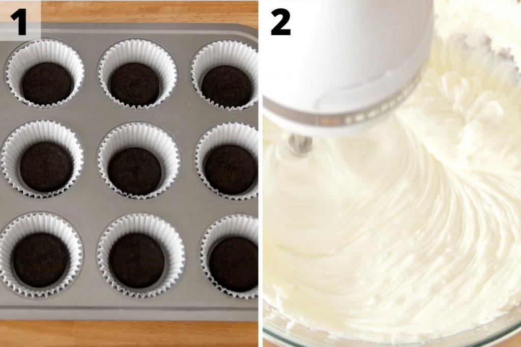 Oreo Cheesecake Bites recipe: step 1 and 2 photos.