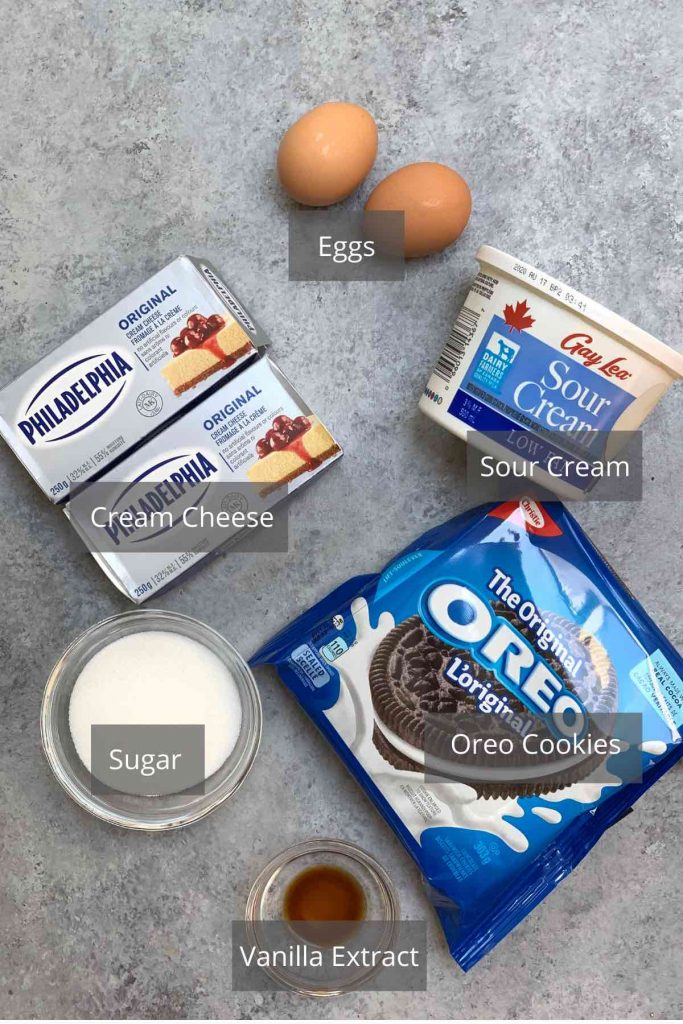 Oreo Cheesecake Bites ingredients on the counter.