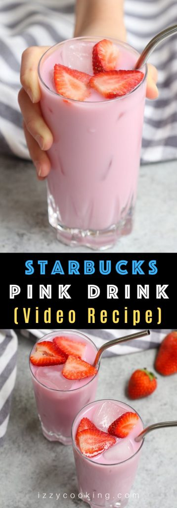 Make Starbucks' super-popular Pink Drink at home! This copycat recipe is a real deal and you can easily customize it to your preferred level of sweetness. The best part? The homemade pink drink recipe uses fresh strawberries to make it even more flavorful and healthier! #PinkDrink #PinkDrinkStarbucks #StarbucksStrawberryDrink