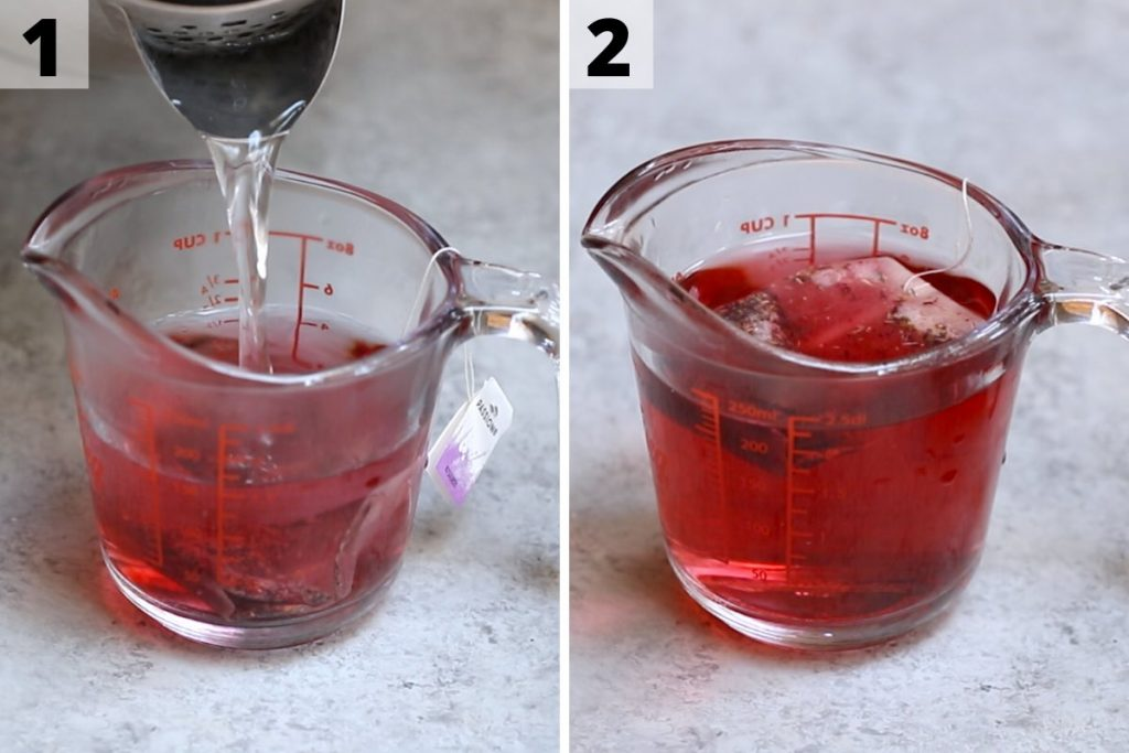 Pink drink recipe: step 1 and 2 photos.