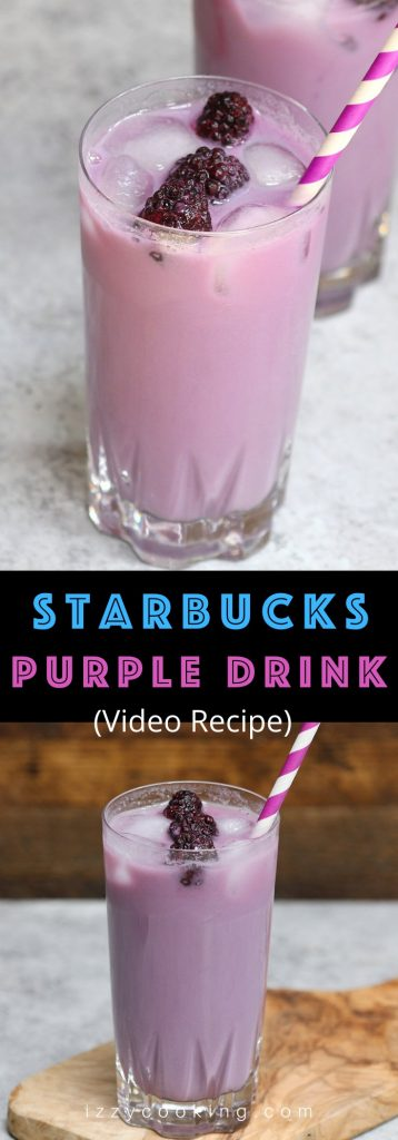 Like Pink Drink, Purple Drink is another refreshing and stunning iced beverage that's perfect for hot summer days. It's made with passion iced tea, soy milk, and syrup, topped with blackberries. Here is a complete guide on purple drink, including how to order it from Starbuck's secret menu, and how to make it at home! #PurpleDrink #PurpleDrinkStarbucks #VioletDrink