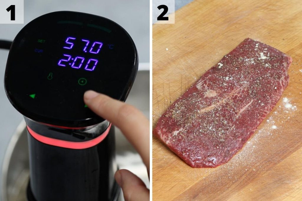 Sous Vide Flat Iron Steak recipe: step 1 and 2 photos.