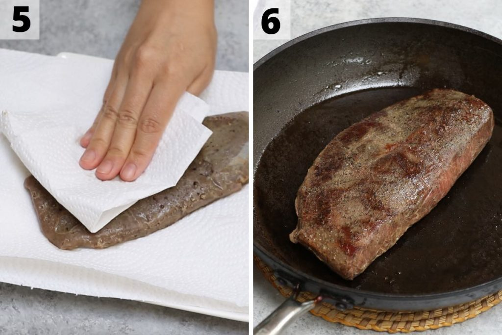 Sous Vide Flat Iron Steak recipe: step 5 and 6 photos.