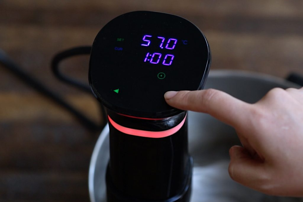 Set the Sous Vide Precision Cooker to 135°F (57°C) for medium-rare or other desired doneness and set the time for 1 hours.