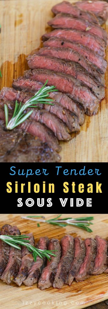 Sous Vide Sirloin Steak is a no-fuss, no-fail recipe to cook this family-sized beef cut, turning it to a super tender and juicy dinner full of flavor! With only 5 minutes of prep time, sous vide machine cooks the sirloin steak to your targeted temperature precisely, and no more overcooked edges with undercooked center! #SousVideSteak #SousVideSirloinSteak #SousVideTopSirloinSteak