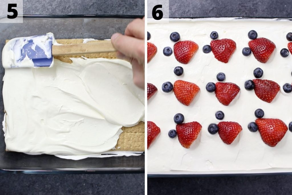 Strawberry icebox cake recipe: step 5 and 6 photos.