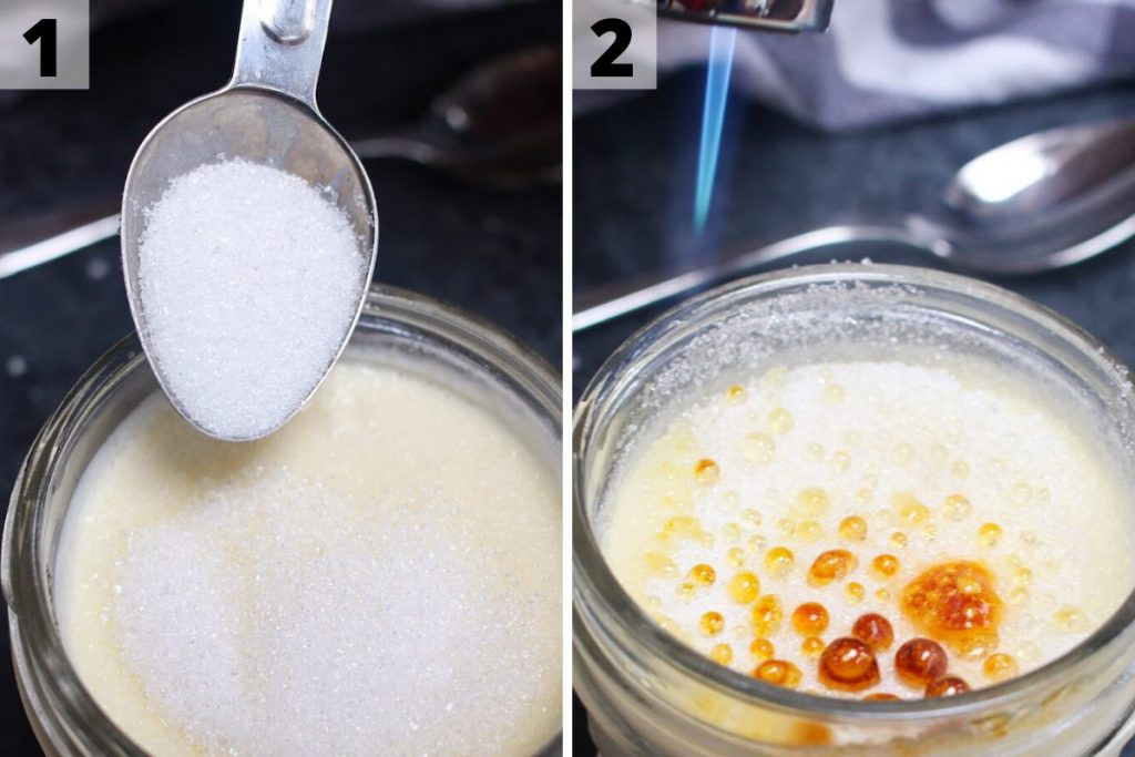 Sous vide creme brulee: photos showing how to caramelize the sugar topping.