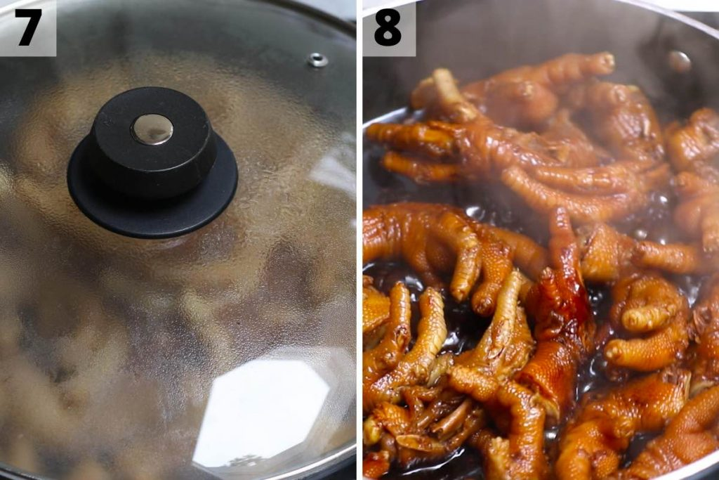 Chicken feet recipe: step 7 and 8 photos.