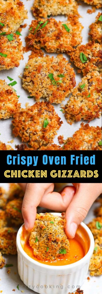 Crispy Oven Fried Chicken Gizzards are so tender and flavorful, perfect for game day and holiday parties. Boiling them before marinating is the key to ensure the super tender texture, and panko bread crumbs create an addictive crunch! No deep-frying! We'll show you how to make these baked chicken gizzards from scratch with step by step guide. #ChickenGizzard #ChickenGizzardRecipe #Fried ChickenGizzards
