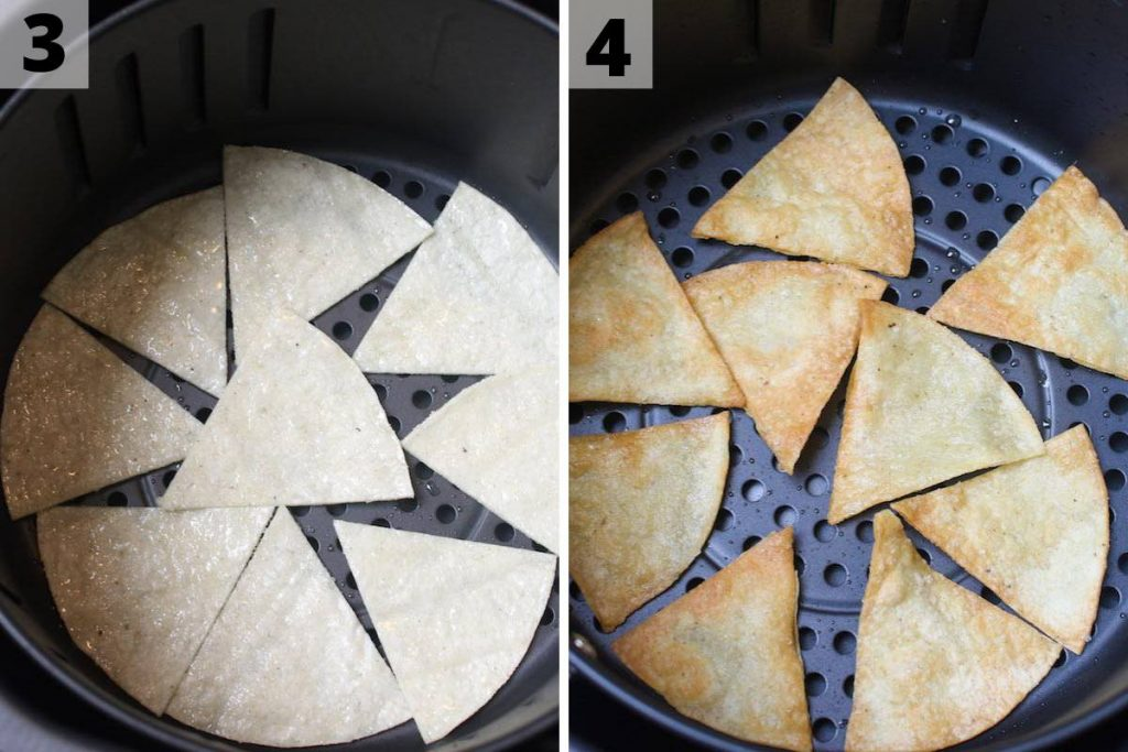 Air fryer tortilla chips recipe: process 3 and 4 photos.