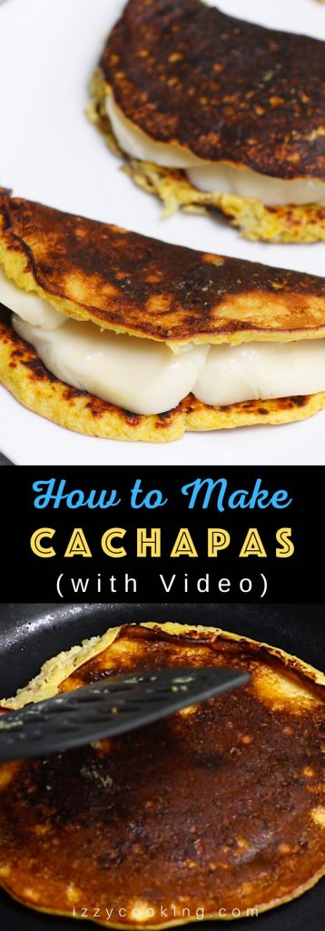 Cachapas are soft, sweet, and savory corn pancakes – a delicious Venezuelan breakfast dish. Made with fresh corn and a few other simple ingredients, these cachapas can be easily folded over a cheese filling such as Queso de Mano, mozzarella, or cream cheese. Incredibly delicious! (No special flour needed.) #Cachapas