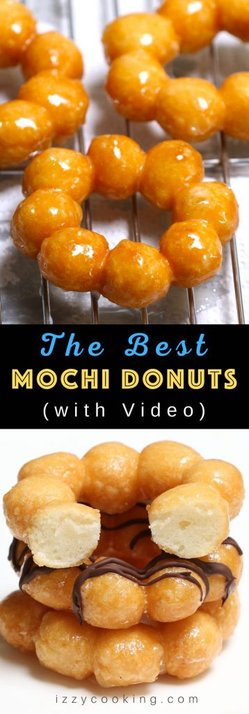 These Glazed Mochi Donuts are sticky, soft and chewy, so delicious and incredibly addictive! They taste like other Japanese mochi balls on the inside while crispy on the outside. You can glaze them with your favorite toppings: classic, matcha, or chocolate!  This foolproof recipe will satisfy those sweet tooth cravings. #MochiDonuts