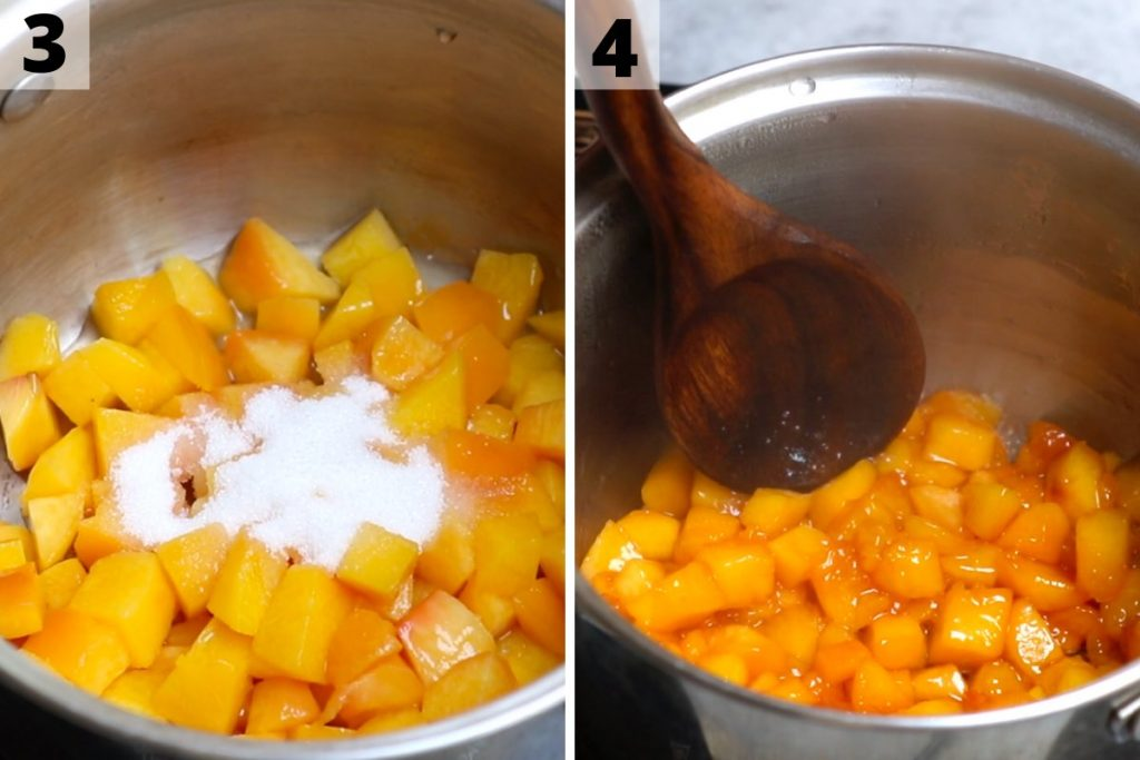 Peach compote recipe: step 3 and 4 photos.