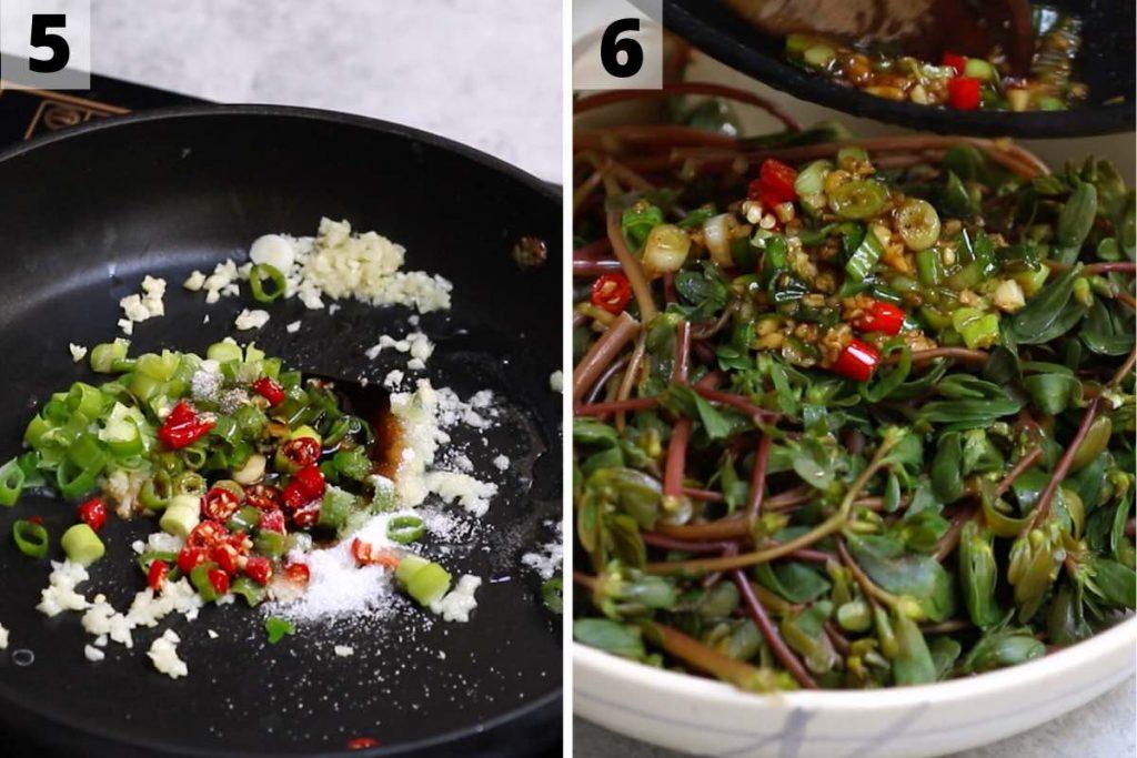 Purslane salad recipe: step 5 and 6 photos.