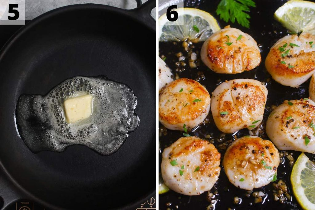 Sous Vide Scallops Recipe: step 5 and 6 photos.