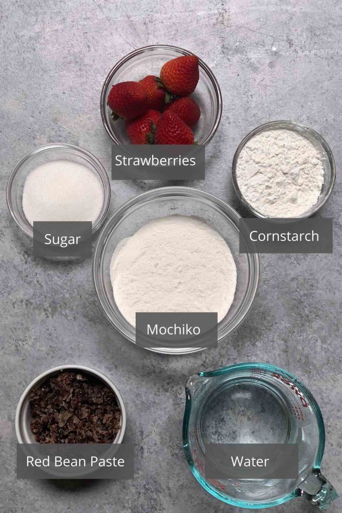 Strawberry mochi ingredients on the counter.