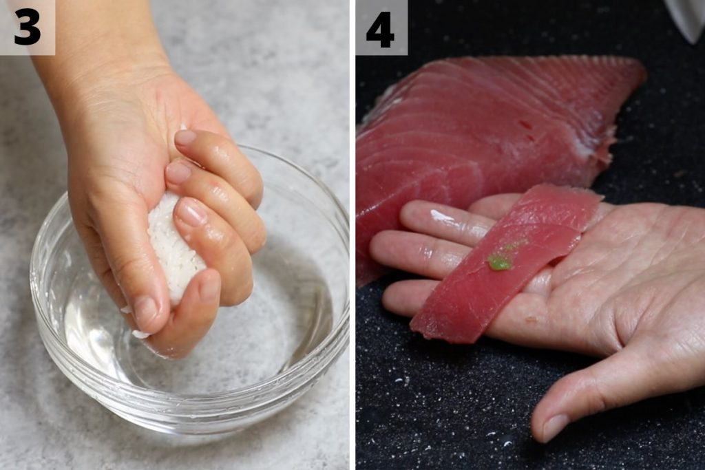 Tuna nigiri recipe: step 3 and 4 photos.