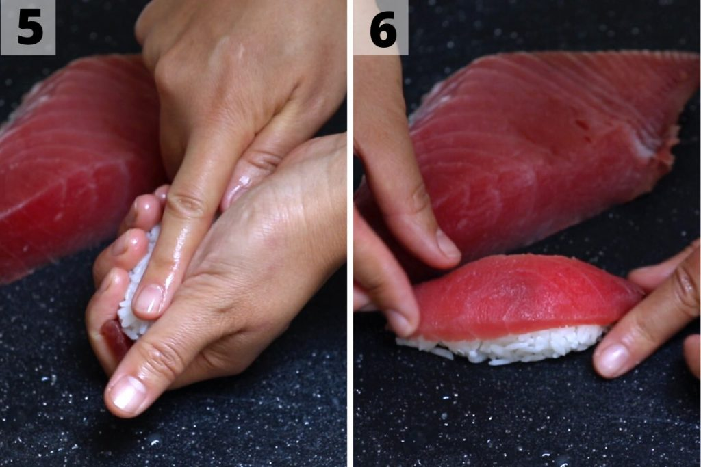 Tuna nigiri recipe: step 5 and 6 photos.