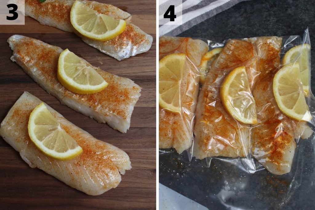 Sous vide cod recipe: step 3 and 4 photos.