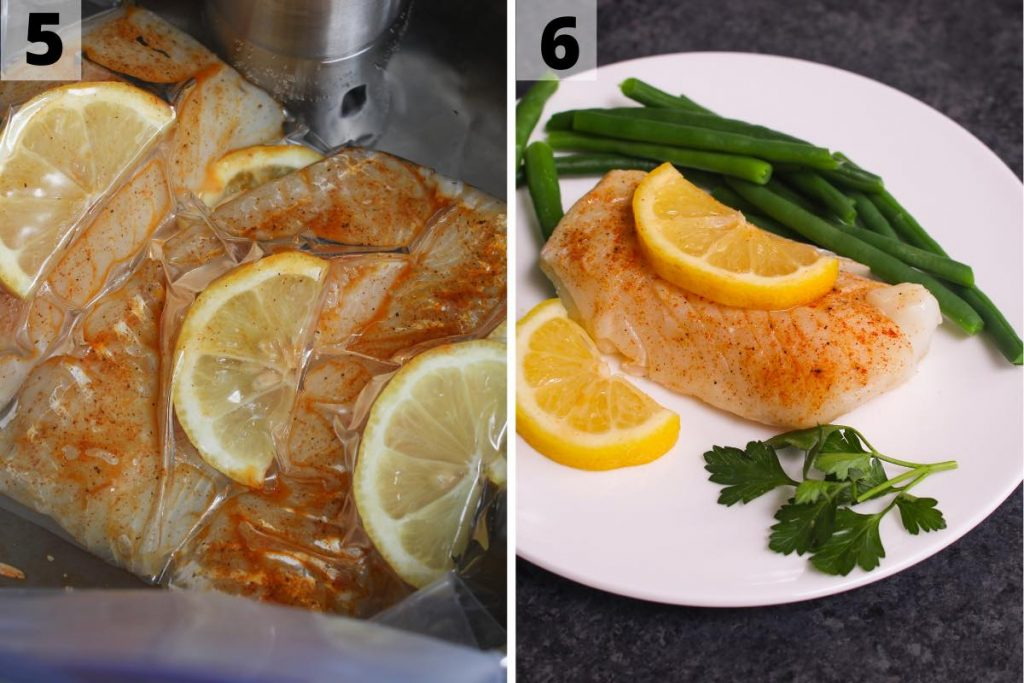 Sous vide cod recipe: step 5 and 6 photos.