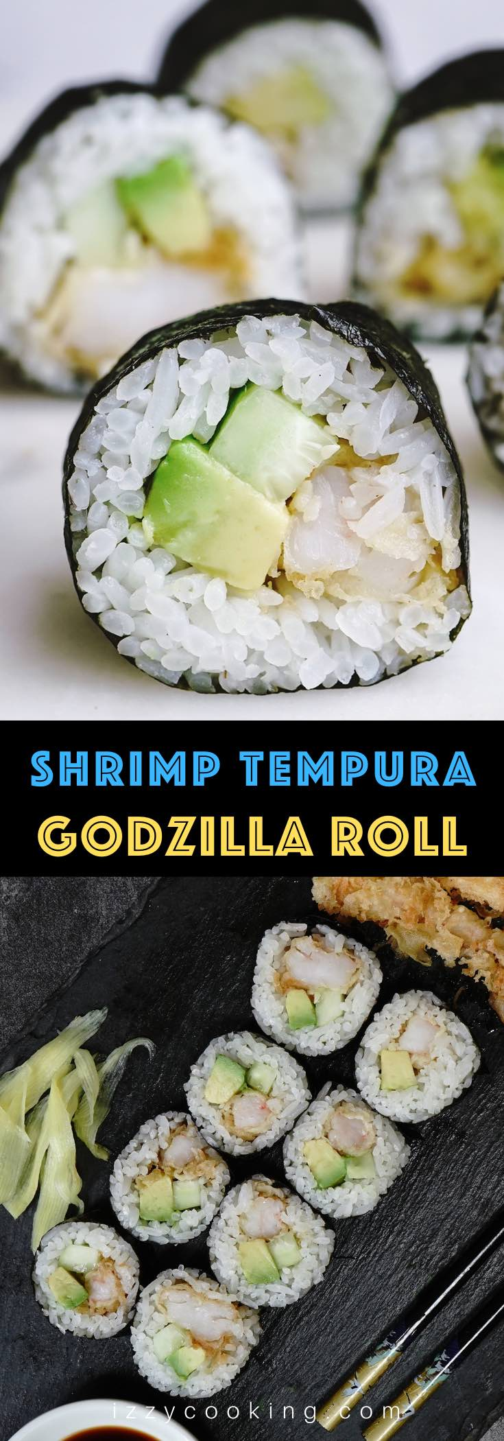 Godzilla Rolls are filled with crispy shrimp tempura, avocado and cucumber, all wrapped in nori seaweed sheets and seasoned rice. Then drizzle it with soy sauce or spicy mayo for some extra flavor.  You can easily make this popular Japanese shrimp tempura roll recipe, so skip the restaurant and prepare some in the comfort of your own home!  #GodzillaRoll #GodzillaRollSushi