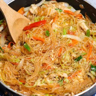 This amazing Pad Woon Sen recipe is surprisingly easy to make at home in under 30 minutes. It's a Thai stir-fried noodle dish made with glass noodles, proteins, veggies tossed in a savory and slightly sweet pad woon sen sauce. It tastes like it came from your favorite Thai restaurant.