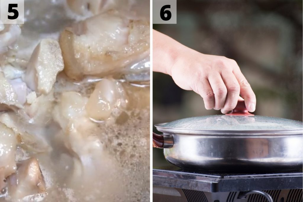 Pig feet recipe: step 5 and 6 photos.