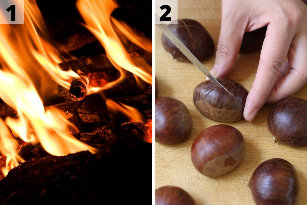 Roasting chestnuts recipe: step 1 and 2 photos.