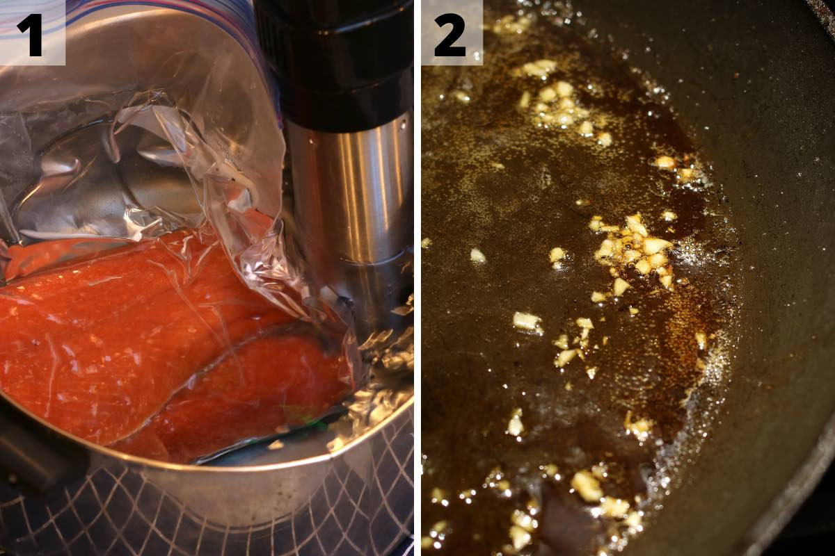 Sous Vide frozen salmon recipe: step 1 and 2 photos.