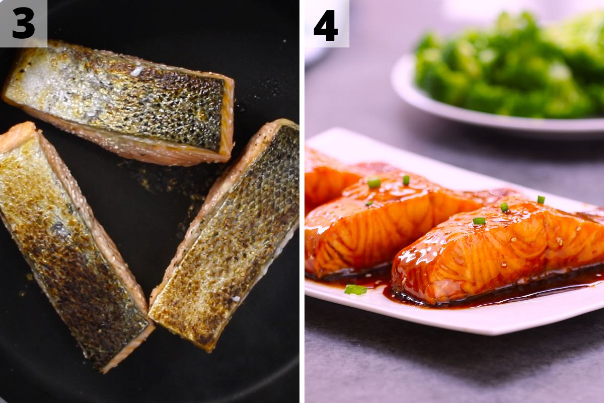 Sous vide frozen salmon: step 3 and 4 photos.