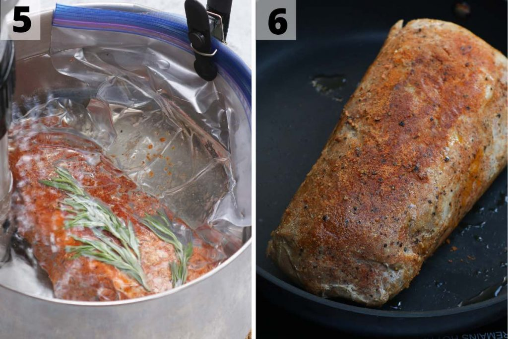 Sous vide pork loin recipe: step 5 and 6 photos.