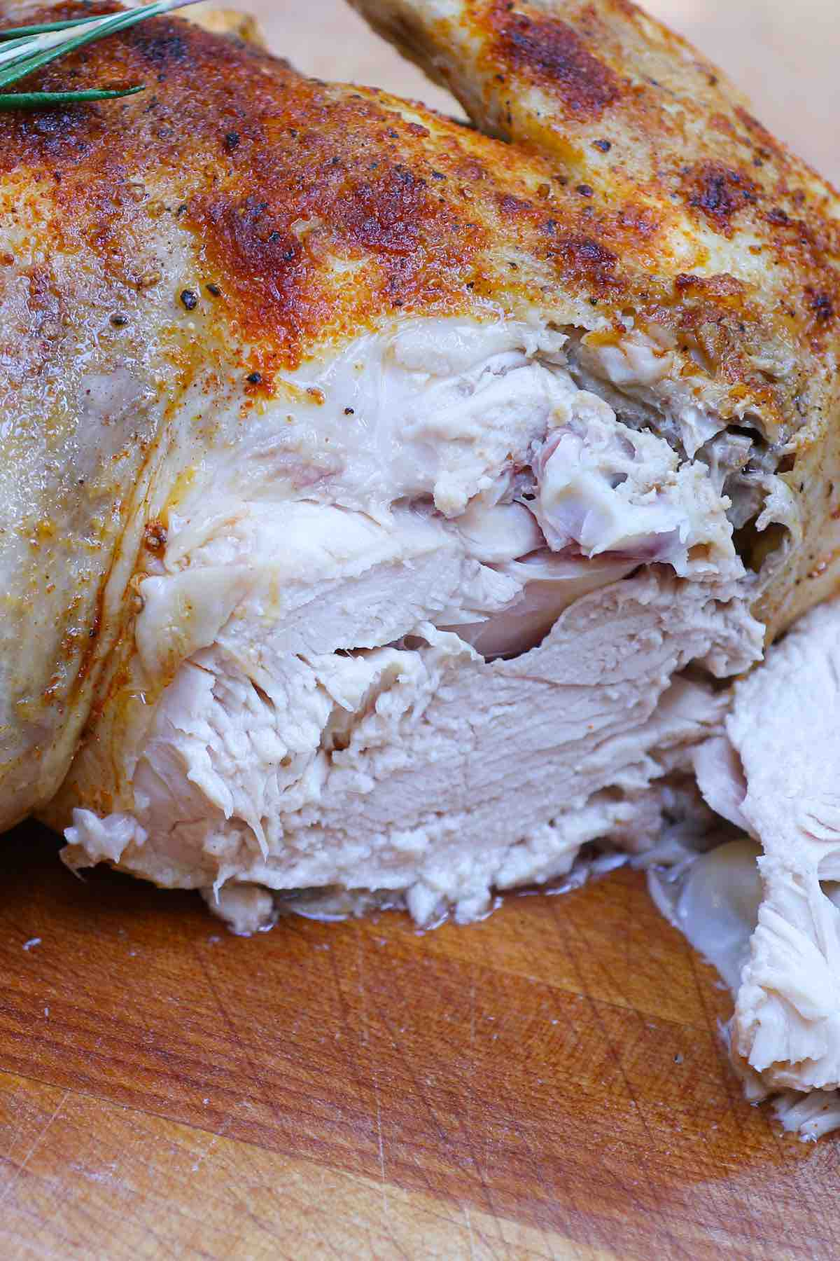 Closeup showing the tender and juicy texture.
