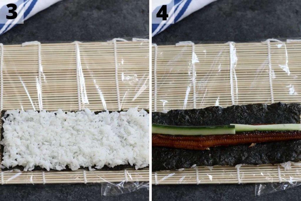Unagi Sushi recipe: step 3 and 4 photos.