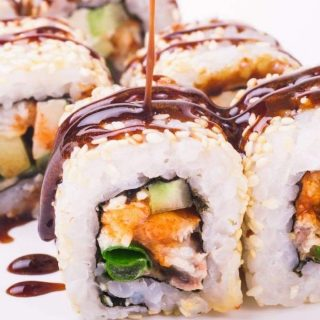 Unagi Sushi Rolls are filled with bbq eel, crunchy cucumber, then rolled in nori seaweed sheet and sushi rice! I like to drizzle it with delicious unagi sauce for an extra flavor.