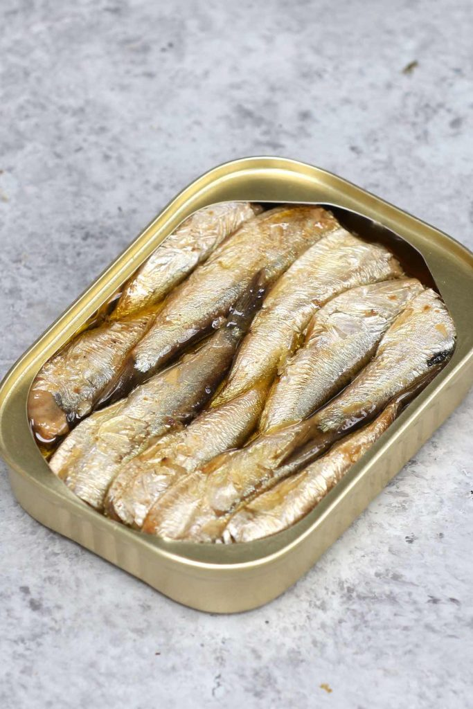 Closeup of canned sardines I used.